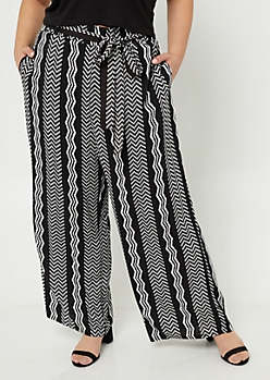 Plus Black Zig Zag Pattern Tie Waist Palazzo Pants