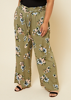 Plus Olive Floral Print Tie Front Palazzo Pants