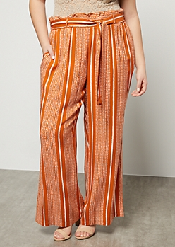 Plus Orange Speckled Striped Paperbag Waist Palazzo Pants