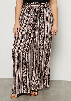 Plus Pink Border Print Paperbag Waist Palazzo Pants