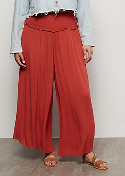 Plus Burnt Orange Smocked Palazzo Pants