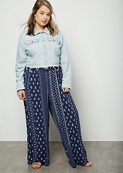 Plus Navy Border Print Smocked Palazzo Pants
