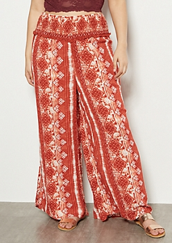 Plus Red Border Print Smocked Palazzo Pants