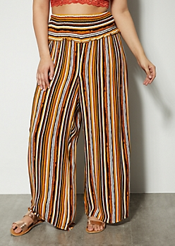 Plus Mustard Striped Smocked Palazzo Pants