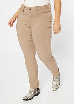 Plus YMI Tan Hyper Stretch Skinny Jeans