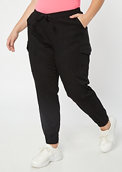 Plus Black Cargo Twill Joggers
