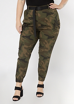 Plus Camo Print Belted Cargo Joggers