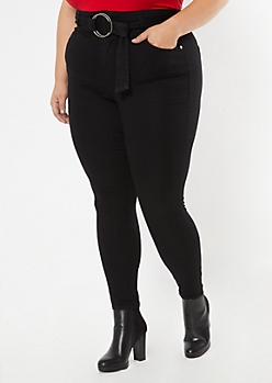 Plus Black O Ring Belt Skinny Pants
