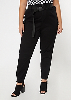 Plus Black Belted Cargo Joggers