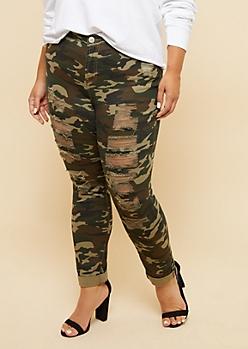 Plus Camo Print Mid Rise Distressed Rolled Cuff Ankle Jeans