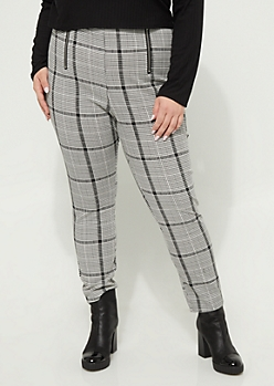 Plus Houndstooth Pattern High Waisted Pants