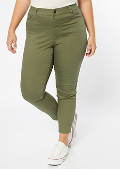Plus Olive Pull On Jeggings