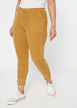 Plus Camel Cargo Pocket Cuffed Skinny Jeans