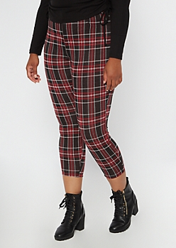 Plus Red Plaid Pull On Pants