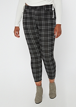 Plus Black Plaid Pull On Pants
