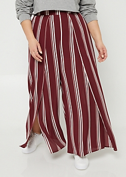 Plus Burgundy Striped Pattern Split Front Palazzo Pants