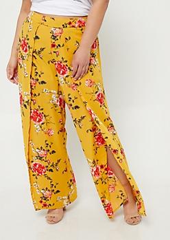 Plus Yellow Floral Print Split Front Palazzo Pants