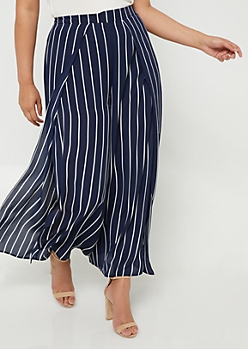 Plus Navy Striped Pattern Split Front Palazzo Pants
