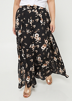 Plus Black Floral Print Split Front Palazzo Pants