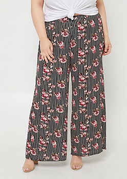 Plus Black Striped Floral Print Palazzo Pants