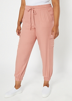 Plus Pink Cargo Woven Joggers