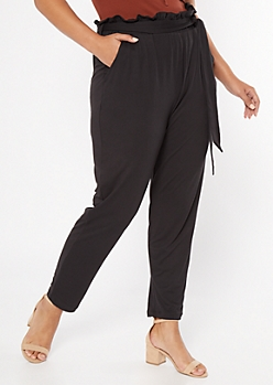 Plus Black Super Soft Paperbag Waist Tapered Pants