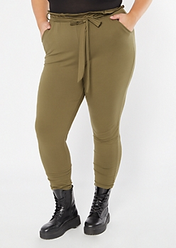Plus Olive Super Soft Paperbag Waist Tapered Pants