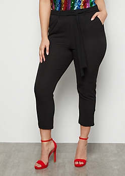 Plus Black Extra High Waisted Crepe Pants