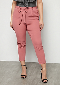 Plus Blush Pink Extra High Waisted Crepe Pants