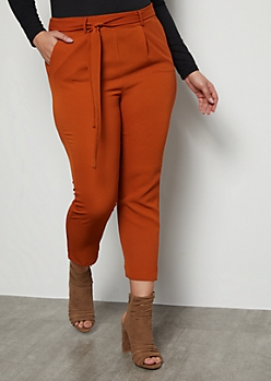 Plus Burnt Orange Extra High Waisted Crepe Pants