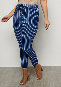 Plus Blue Striped Tapered High Waisted Pants