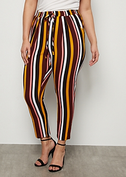 Plus Burgundy Striped Tapered High Waisted Pants