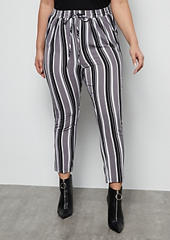 Plus Gray Striped Tapered High Waisted Pants