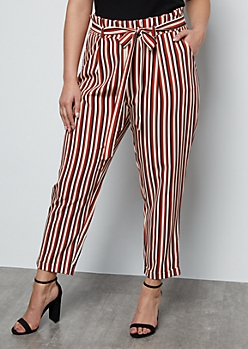 Plus Burnt Orange Striped Cuffed Tapered Paperbag Waist Pants