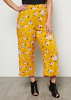 Plus Mustard Floral Print Paperbag Waist Gaucho Pants