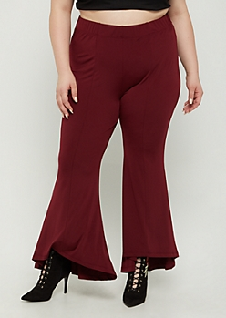Plus Burgundy Knit Cascading Flare Pants