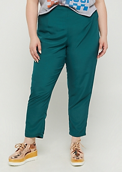 Plus Green Woven Tapered Pants