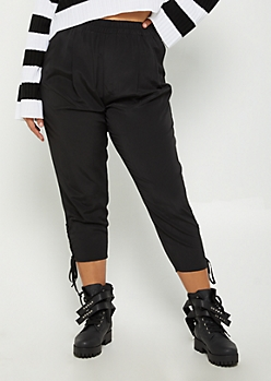 Plus Black Woven Lace Up Cropped Pants