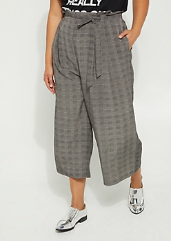 Plus Glen Plaid Paper Bag Waist Pants