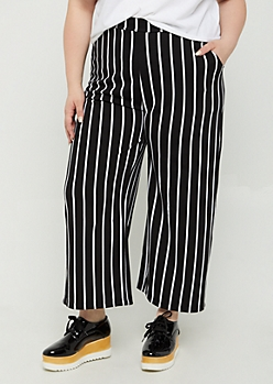 Plus Black Striped Pattern Crepe Culottes