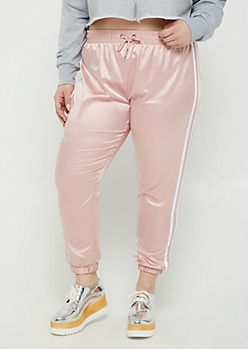 Plus Pink Satin Joggers