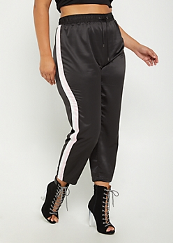 Plus Black Striped Pattern Satin Pants