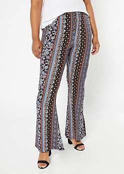 Plus Black Paisley Print Super Soft Flare Pants