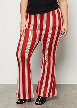 Plus Medium Red Striped Super Soft Mid Rise Flare Pants