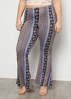 Plus Periwinkle Border Print Super Soft Mid Rise Flare Pants