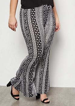 Plus Black Border Print Super Soft Mid Rise Flare Pants
