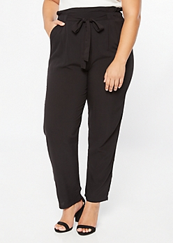 Plus Black Paperbag Waist Tapered Pants