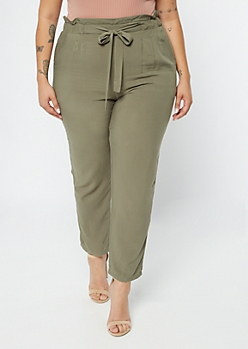 Plus Green Paperbag Waist Tapered Pants