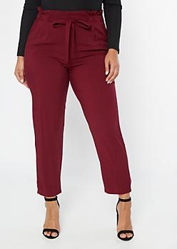 Plus Burgundy Paperbag Waist Tapered Pants
