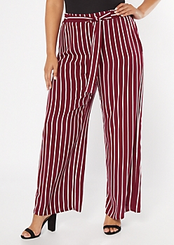 Plus Burgundy Striped Tie Waist Palazzo Pants